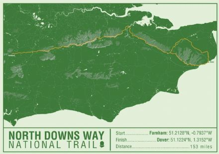 North Downs Way National Trail Map Print